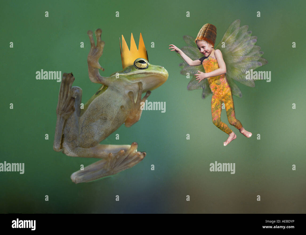 The frog king speaks with a flower fairy - Stock Image