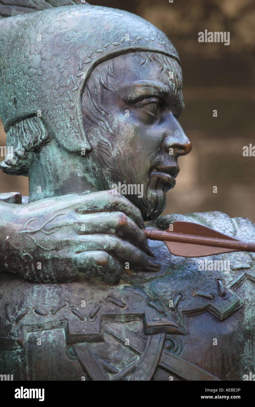 Robin Hood Statue, Nottingham Castle, Nottingham, Nottinghamshire, England, United Kingdom - Stock Image