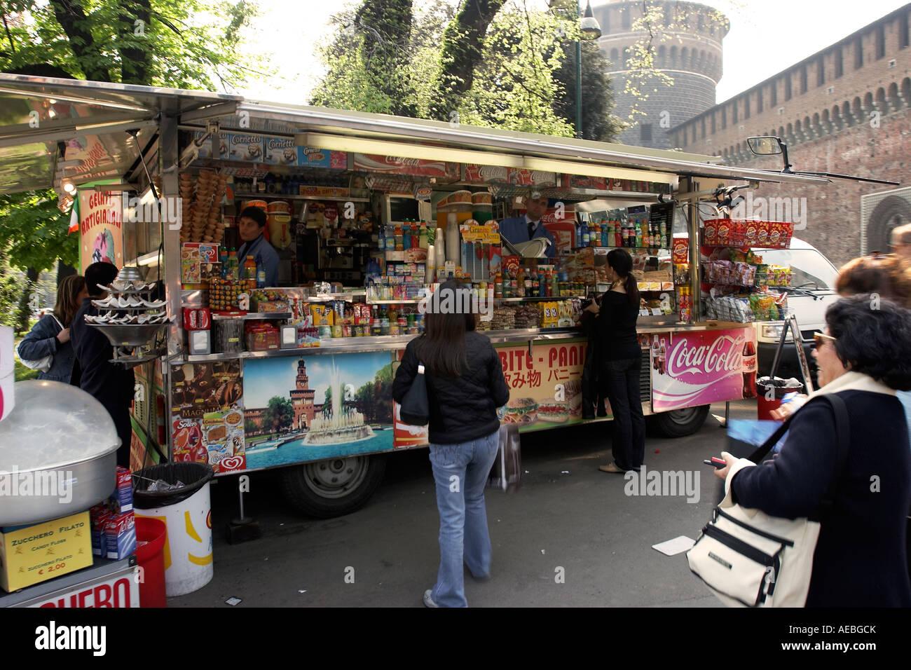Mobile Smack Bar in Milan Italy - Stock Image