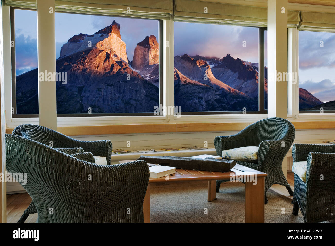View of Los Cuernos from hotel windows.Torres del Paine National Park Chile South America - Stock Image