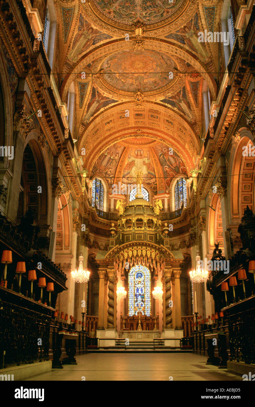 Interior of St Paul s Cathedral which was designed by architect Sir Christopher Wren London England - Stock Image