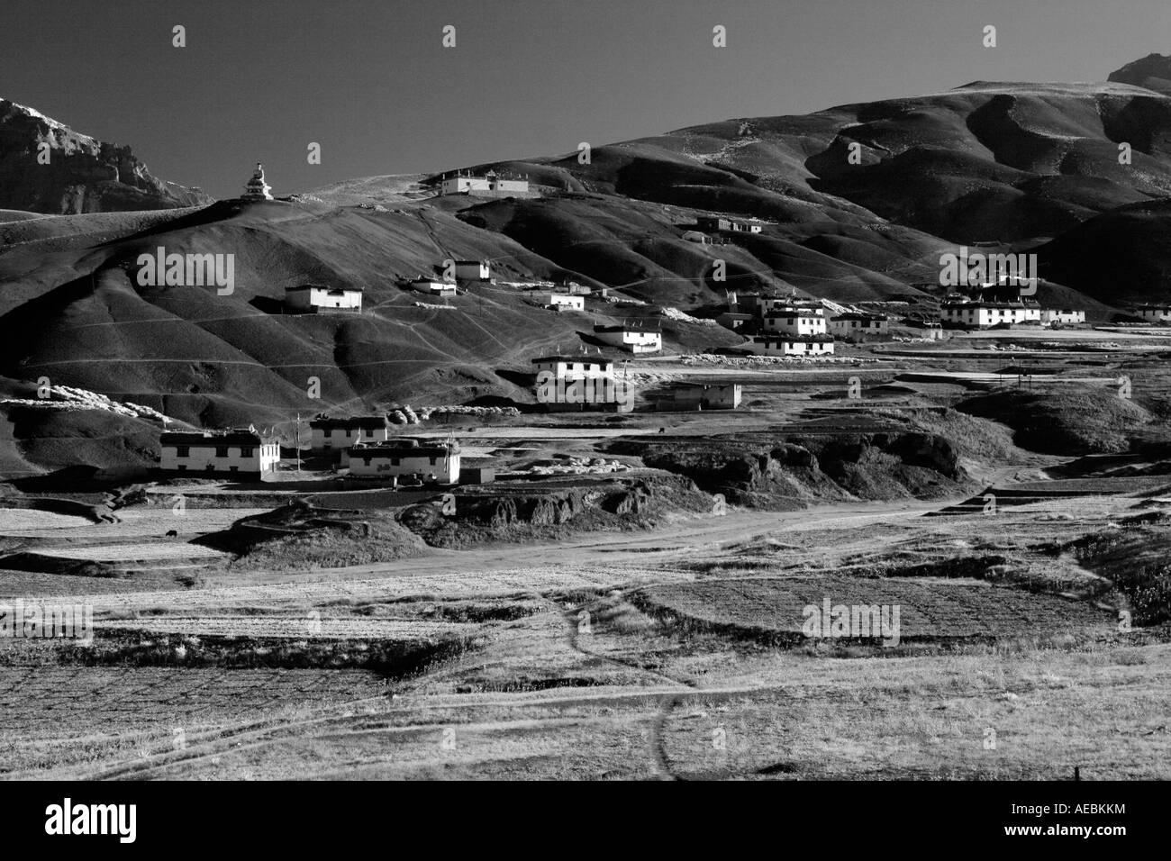 View of village Langza fields in Spiti Valley, Kaza Himachal Pradesh India Stock Photo