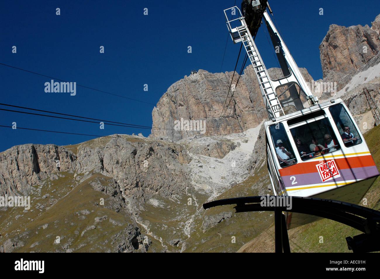 Cable car at the Pordoi Pass, Val di Fassa, Trentino Alto Adige Italy - Stock Image