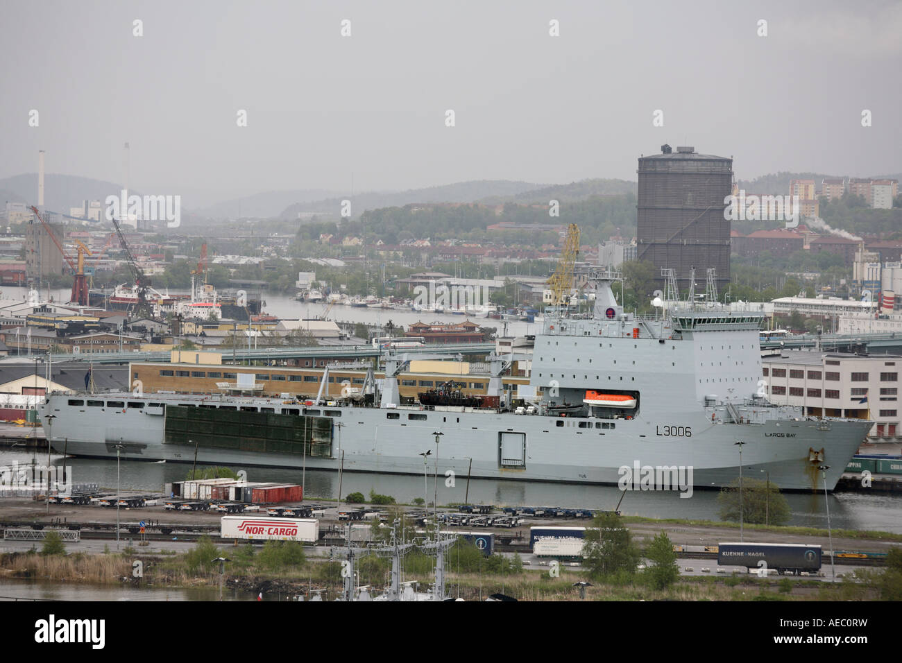 UK s Navy Ship RFA Largs Bay L3006 On mooring in Gothenburg s harbour Stock Photo