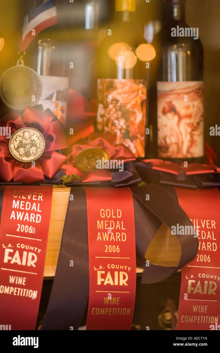 wines and awards at Artiste Impressionist Winery and Tasting Studio Santa Ynez Santa Ynez Valley - Stock Image