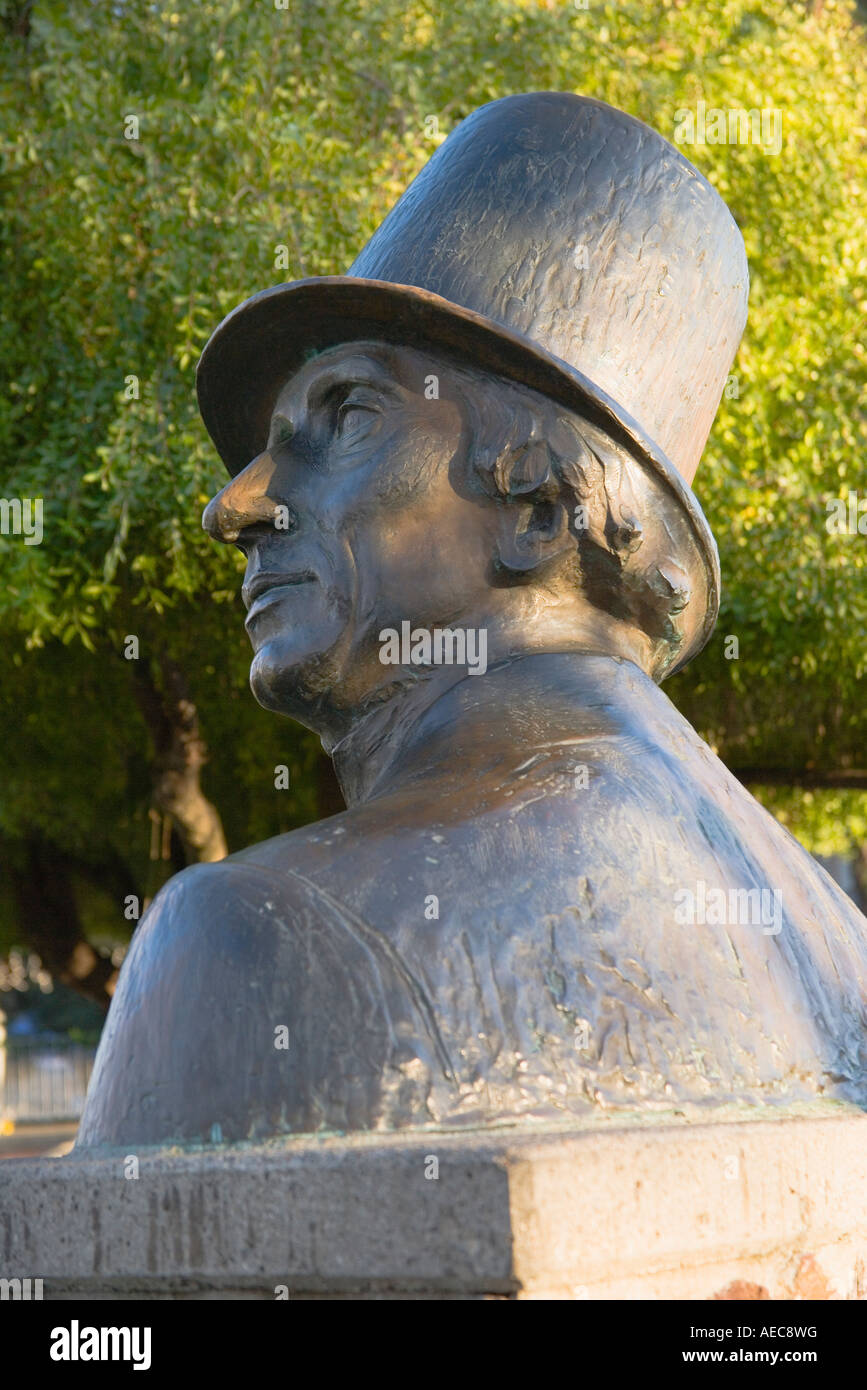 statue of Hans Christian Anderson Solvang Santa Ynez Valley California - Stock Image