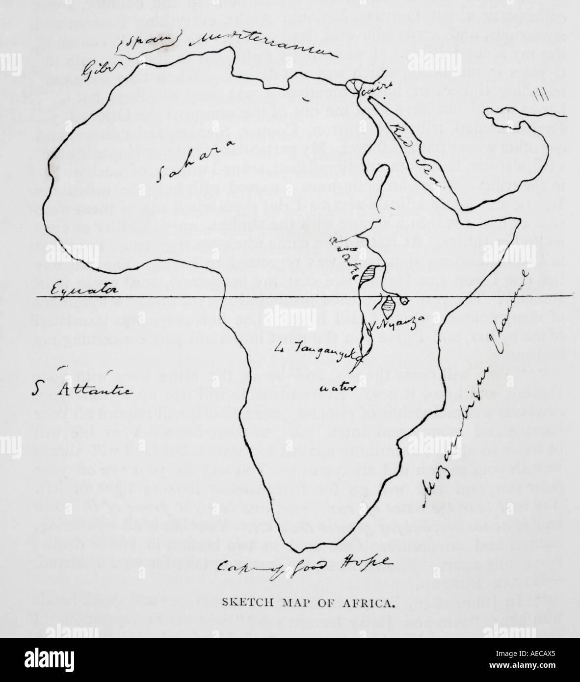 Sir Richard Francis Burtonu0027s Sketch Map Of Africa   Stock Image