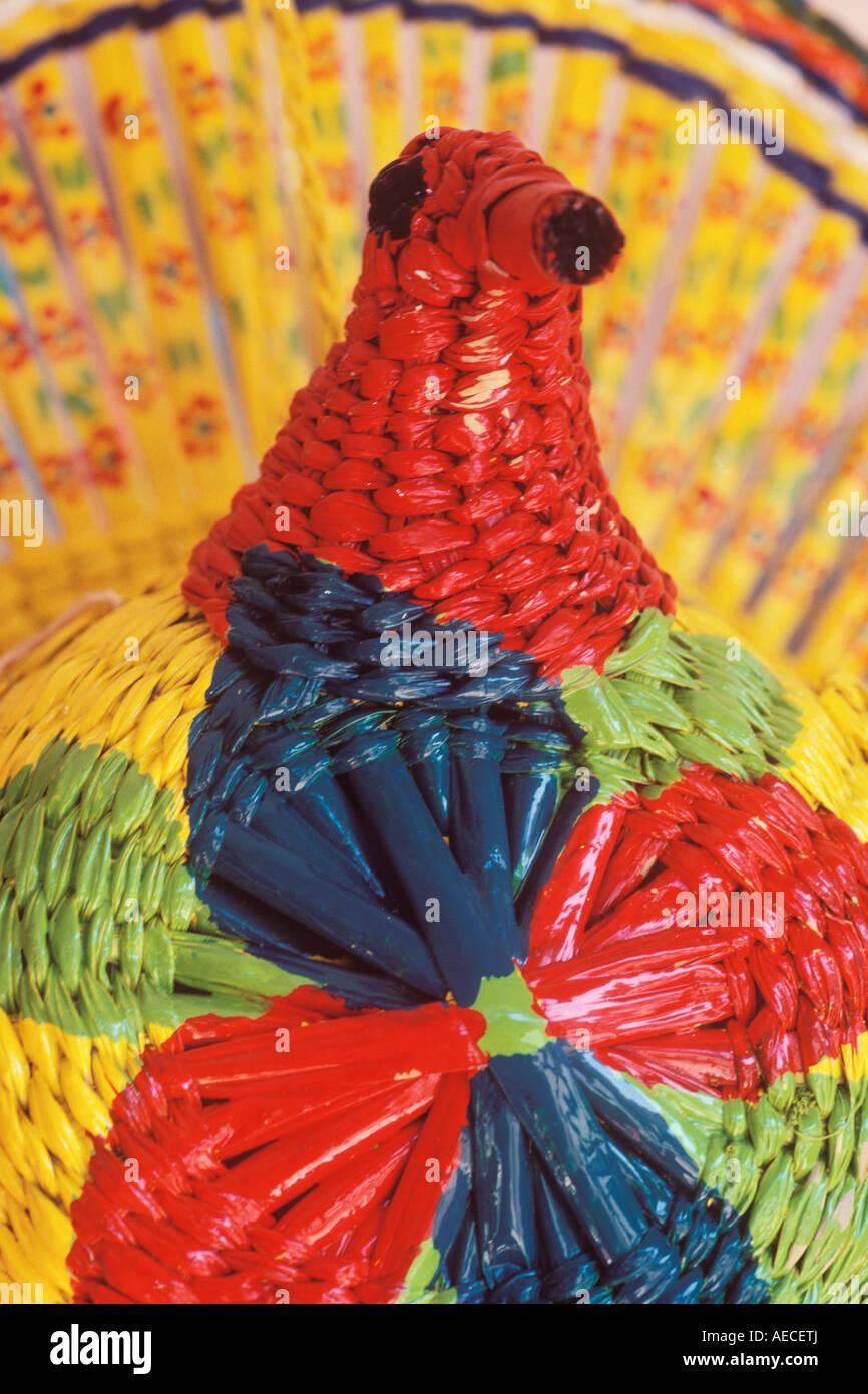 woven straw chicken for sale in shop Loreto Baja California Sur Mexico - Stock Image