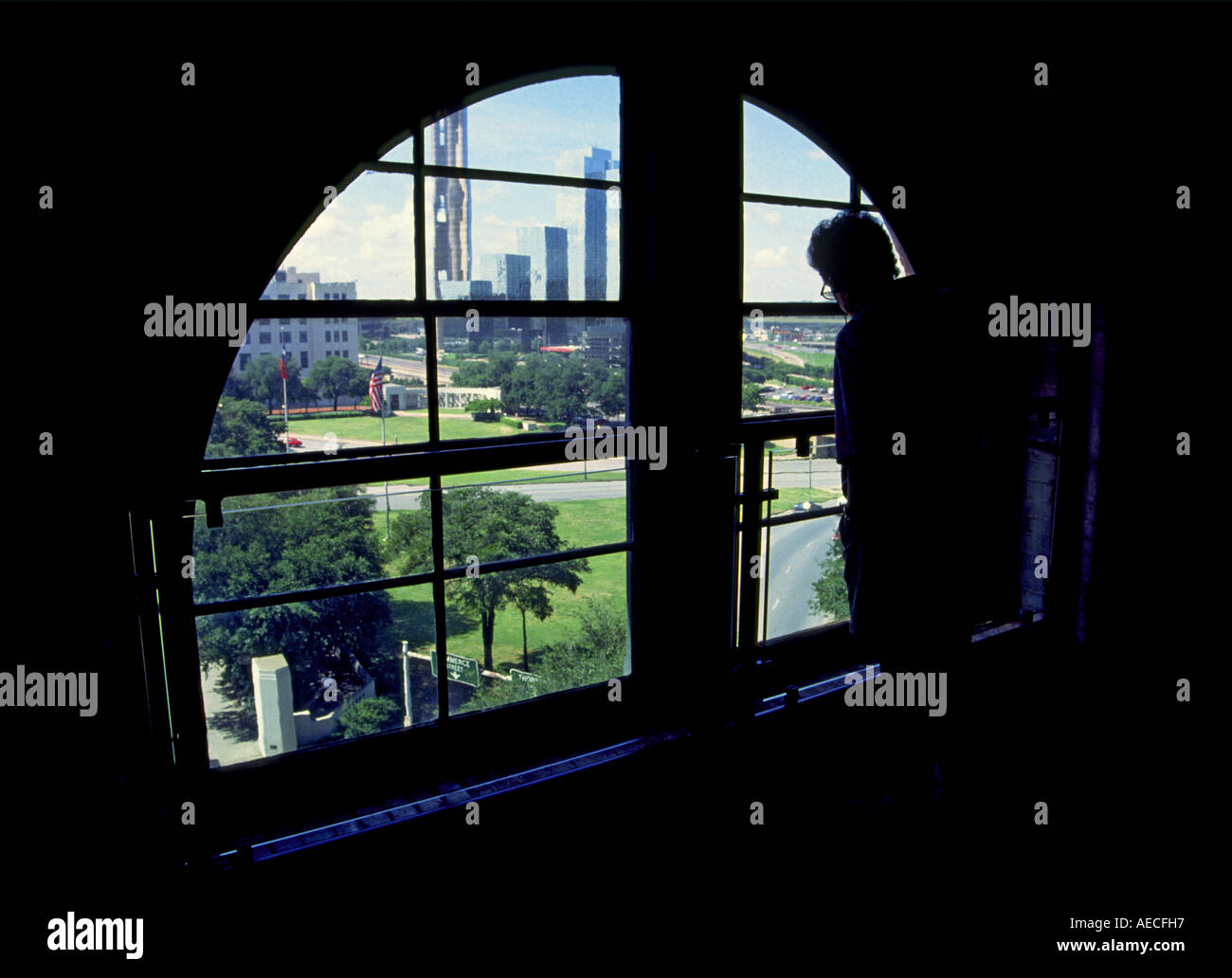 The Corner Window area with view of assasination site from The Sixth Floor Kennedy Museum, Dallas, Texas, USA - Stock Image