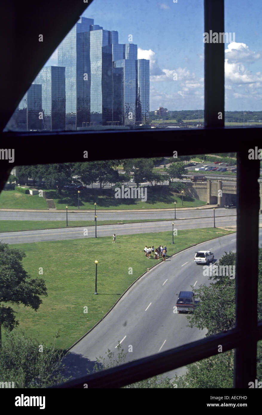 View of JFK assasination site from The Corner Window at The Sixth Floor Kennedy Museum, Dallas, Texas, USA - Stock Image