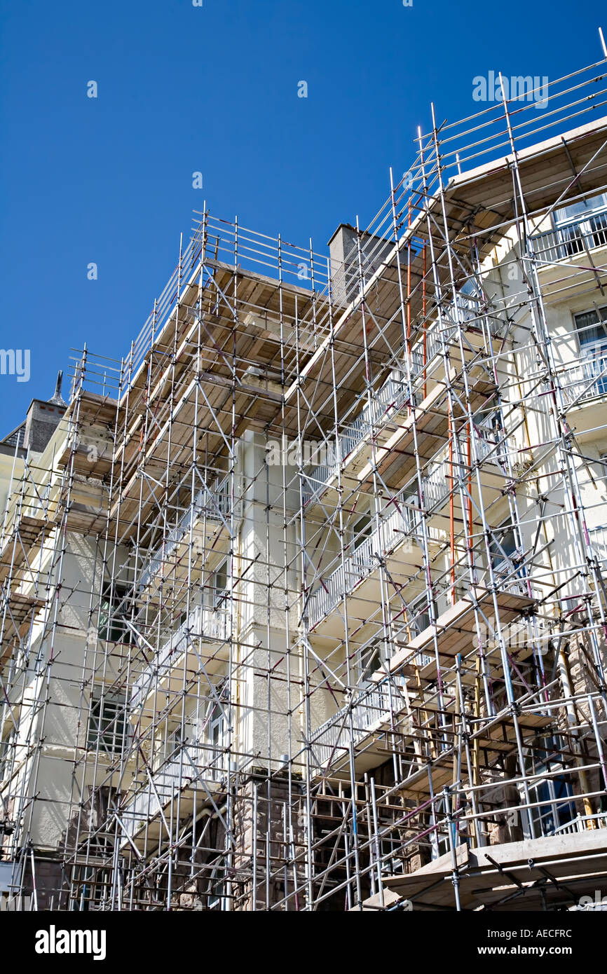 Grand Hotel building covered in scaffolding Llandudno Wales UK - Stock Image