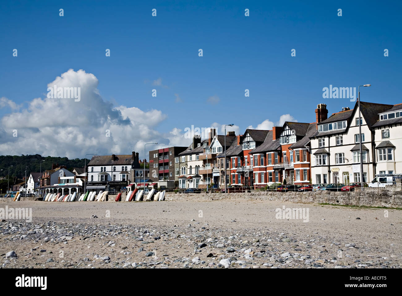 Beach and sea front Rhos on Sea Conwy Wales UK - Stock Image