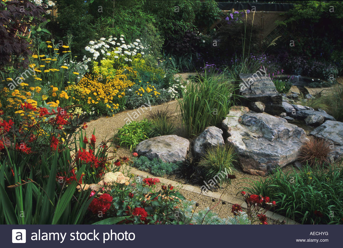 Feng Shui Garden Design Pamela Woods Serpentine Path And Flower Beds Rock  Garden