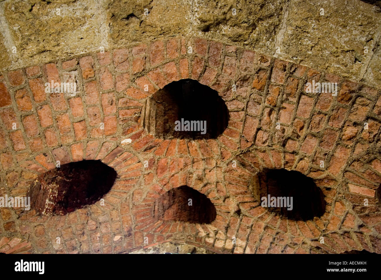 Walmer castle, Kent, England. Defensive dropping holes, 'murder holes' in ceiling above entrance - Stock Image