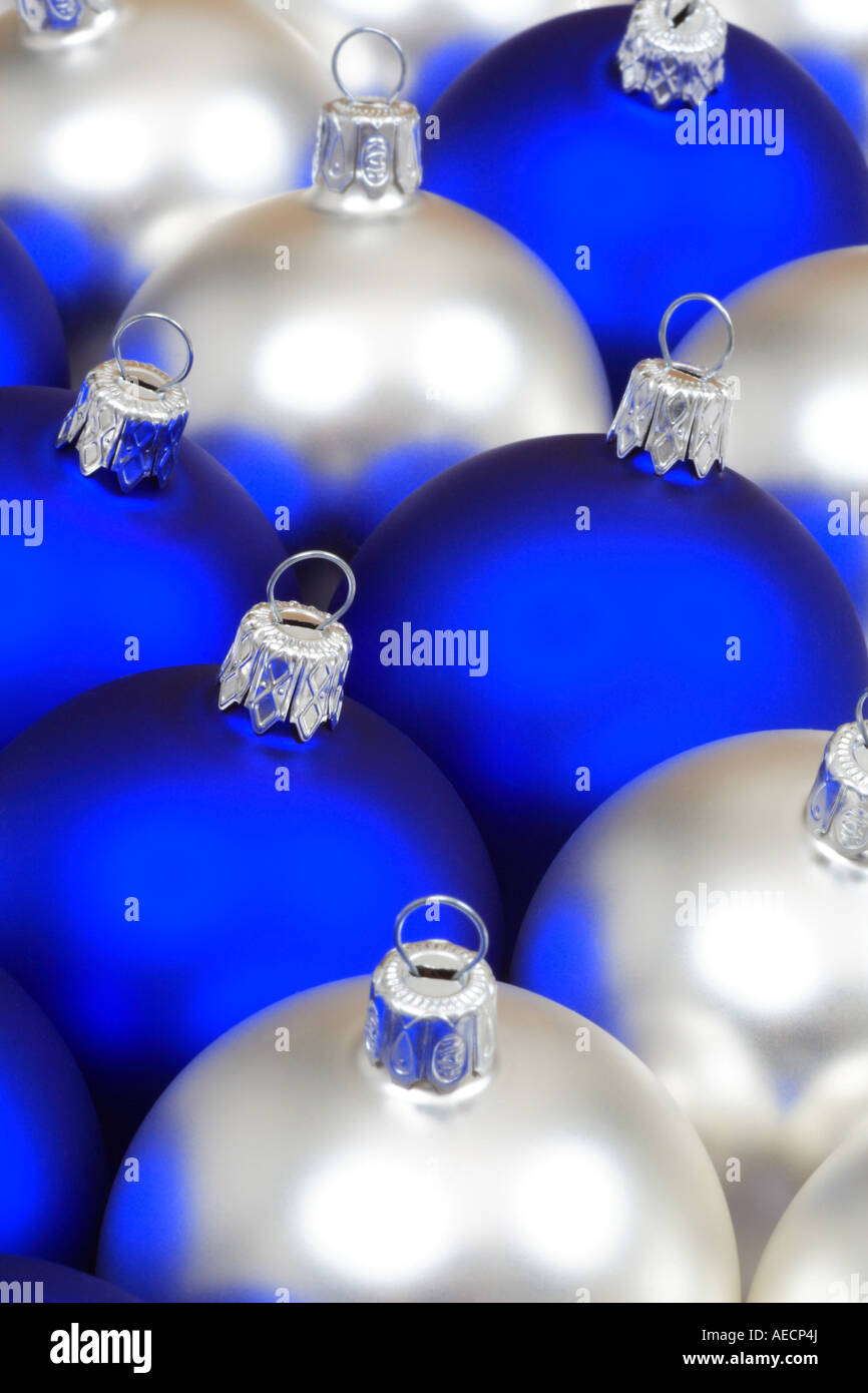 blue and silver christmas tree balls stock image - Blue And Silver Christmas Tree