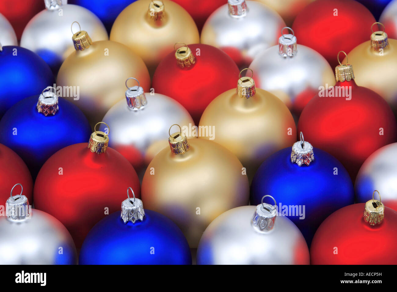 Blue Red Silver And Golden Christmas Tree Balls Stock Photo Alamy