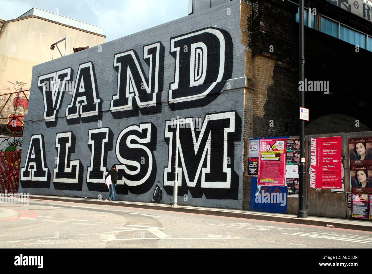 Vandalism mural by EINE, Shoreditch, London - Stock Image