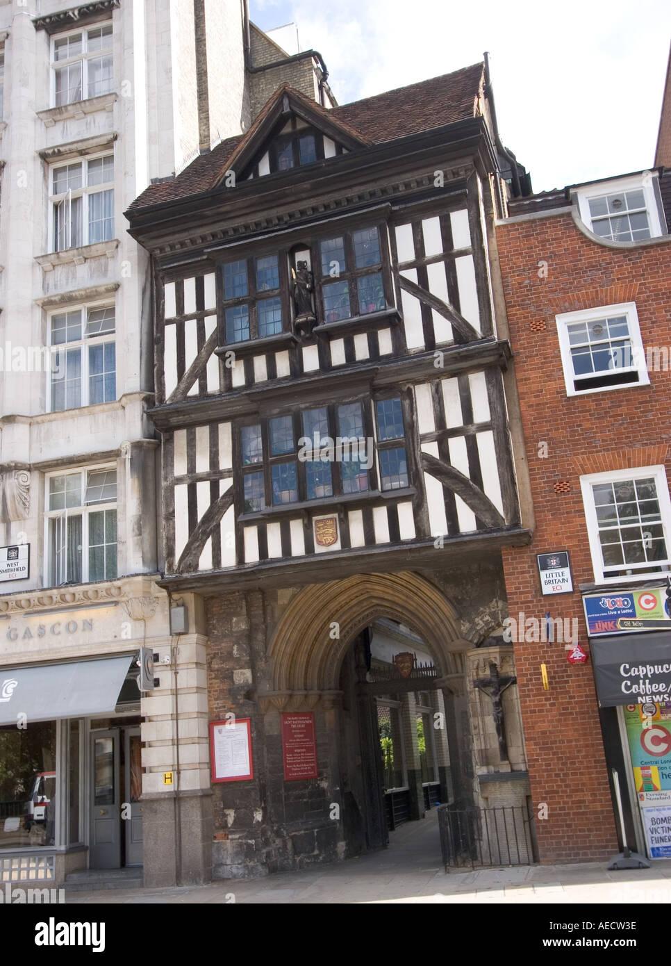 Half timbered entrance to Saint Bartholomew Smithfield EC1 City of London GB UK - Stock Image