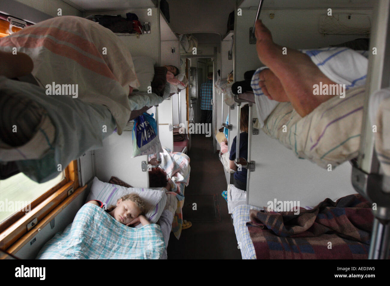 Hard or Sleeper carriage, Trans-Siberian Express, Russia - Stock Image