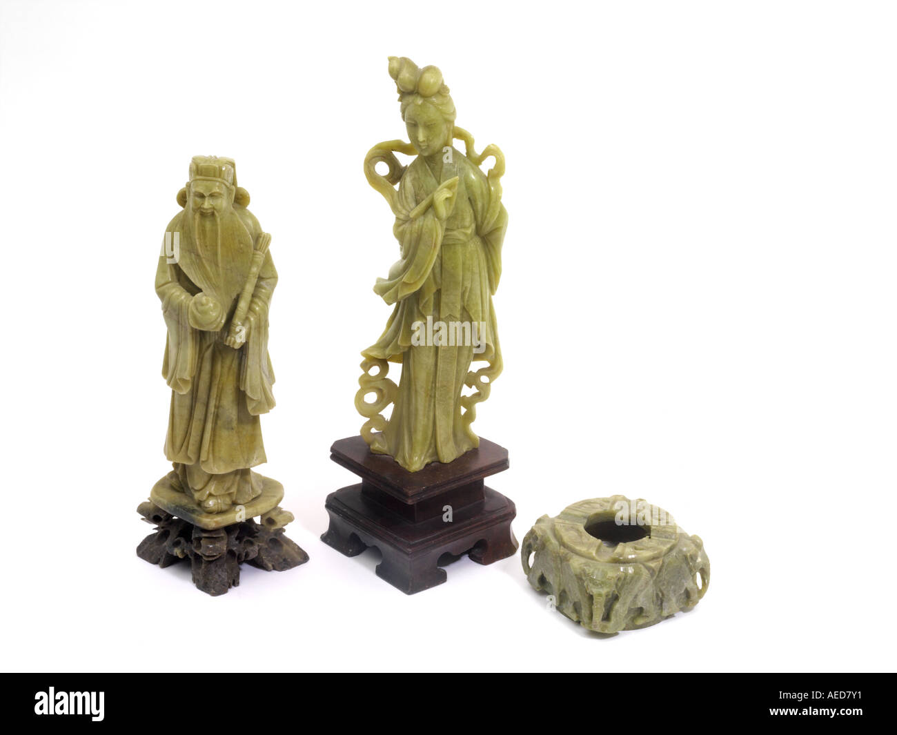 Chinese Jade  Ashtray Jade Jewellery and Sculptures Kuan Yin Bodhisattva of Compassion and Wen Ch'ang - Stock Image