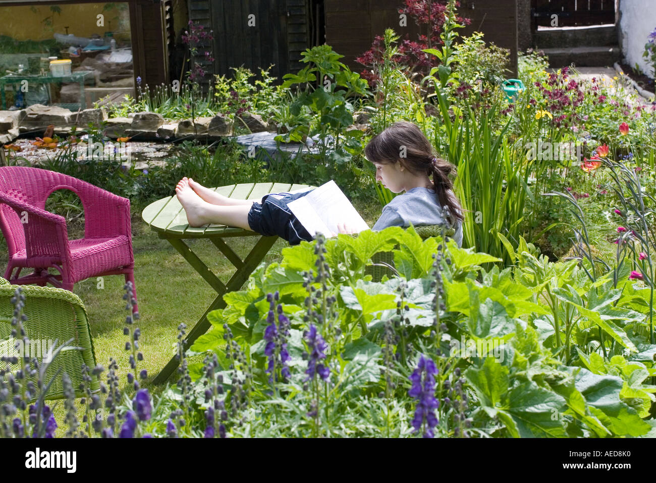 Teenage Girl Studying For Exams In Garden People Lifestyle Wales