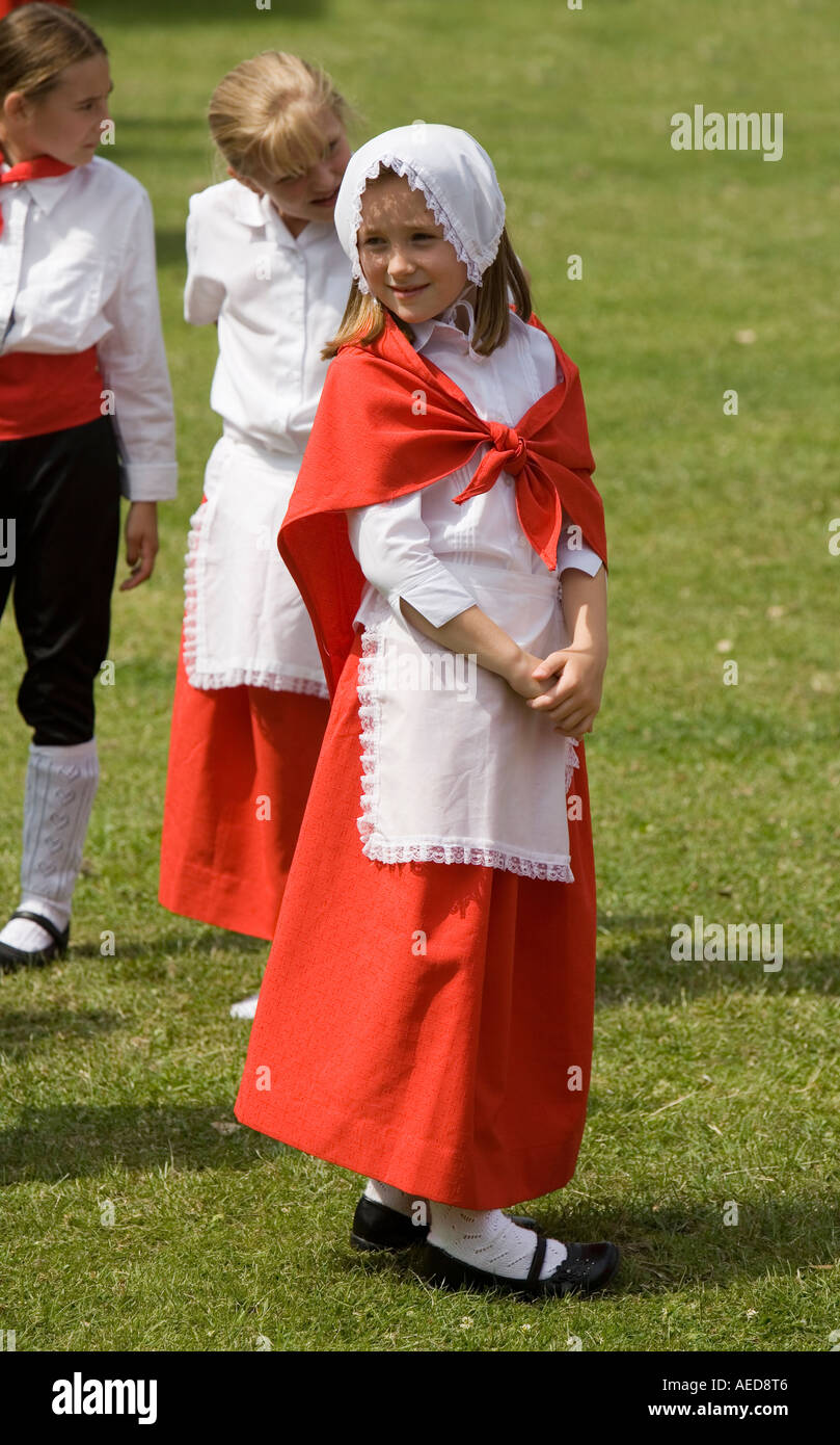 Girl in traditional costume at a country dancing festival Abergavenny Wales UK - Stock Image