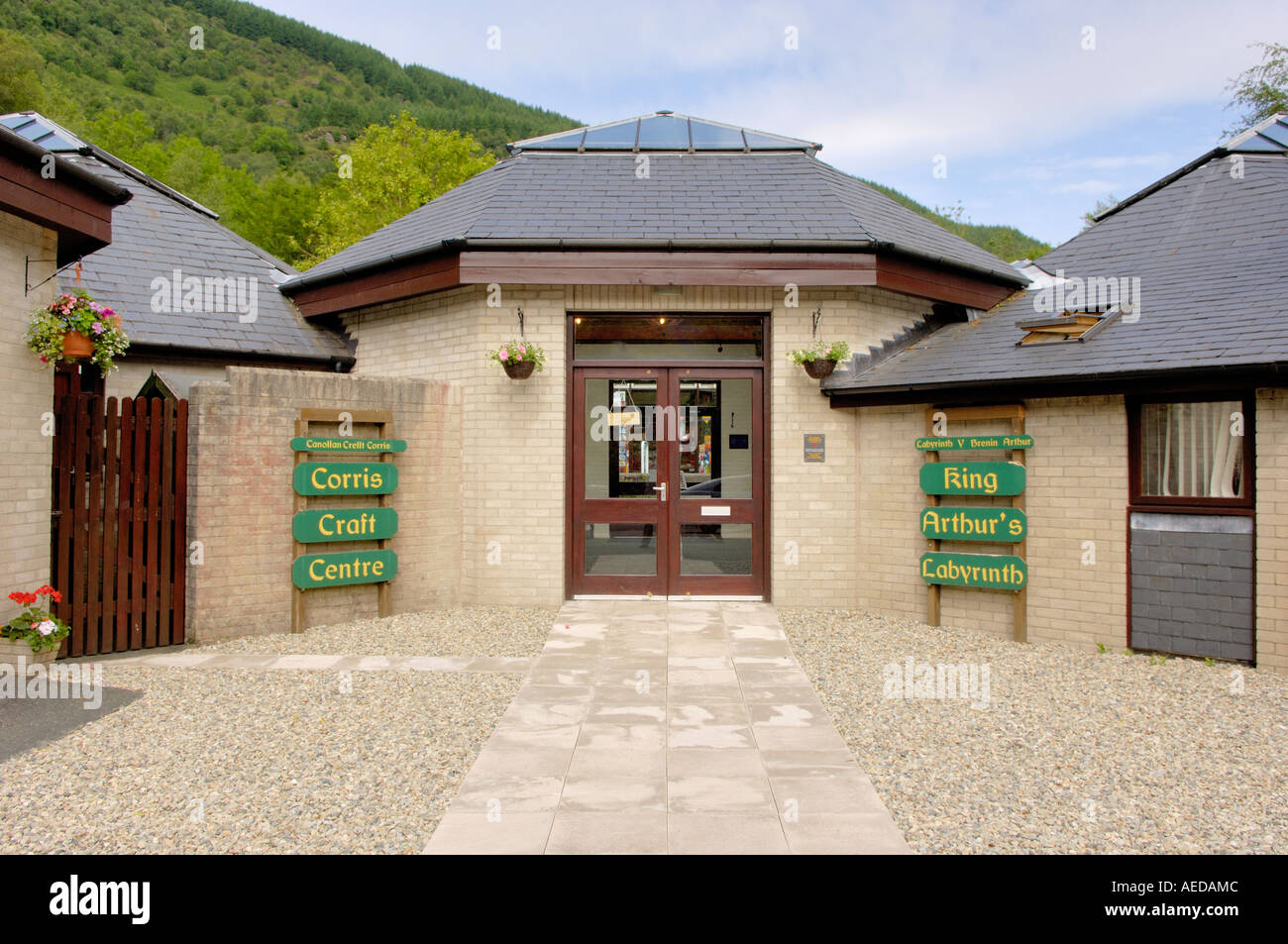 Entrance Corris Craft Centre and King Arthur s Labyrinth Corris North West Wales Stock Photo