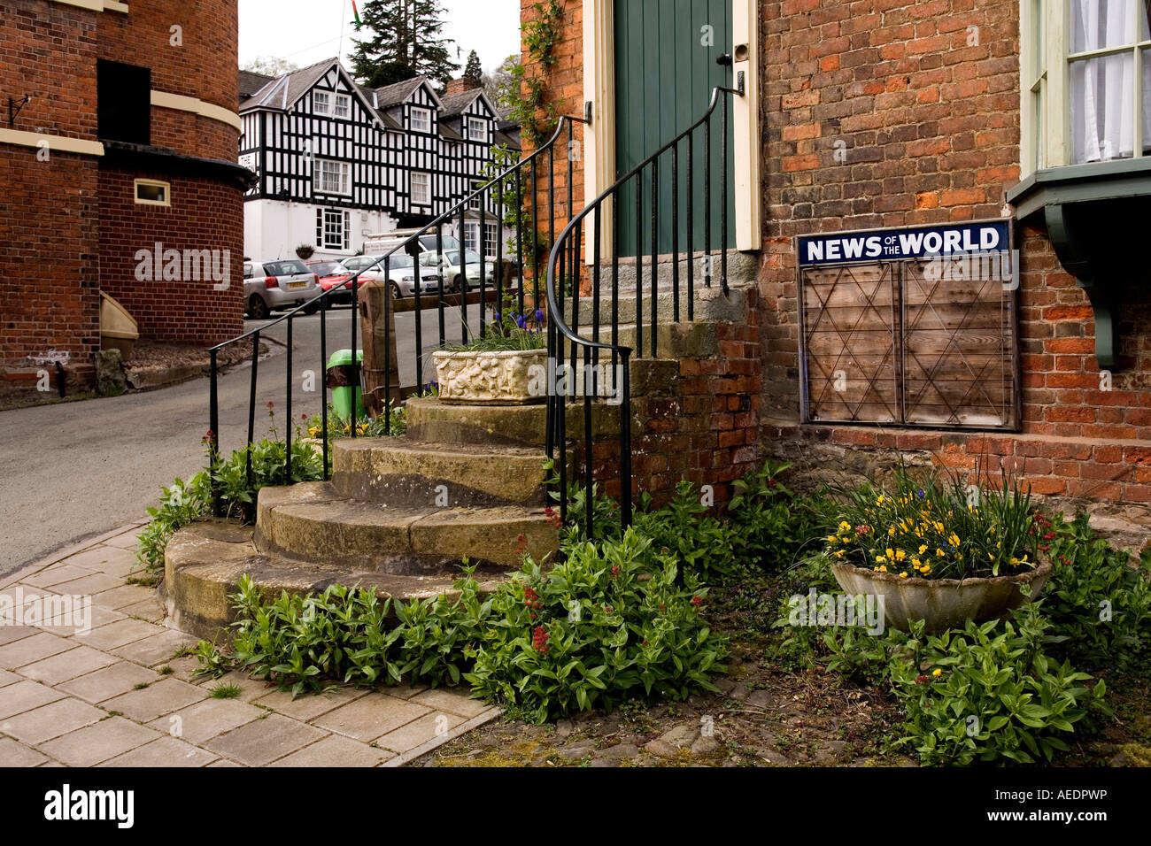 UK Wales Powys Montgomery Arthur Street tall steps to front door as flood prevention measure Stock Photo