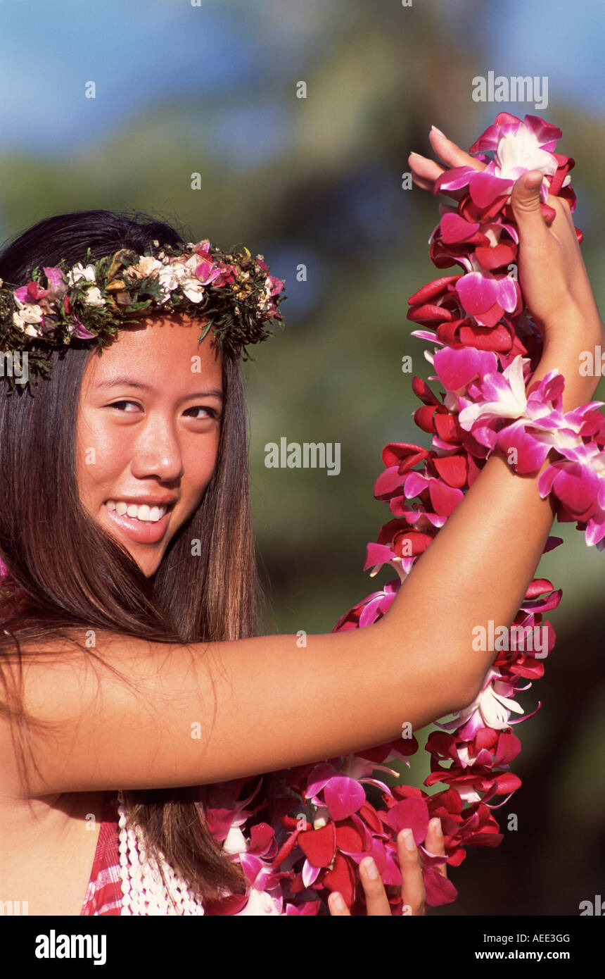 Girl Hula Dancing With Lei, Day - Stock Image