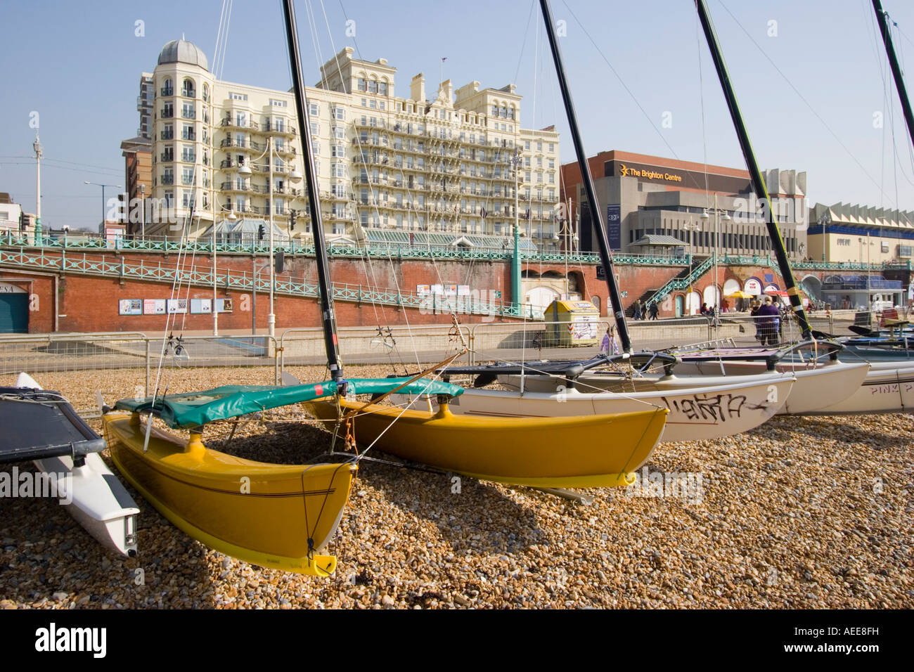 Yachts on the beach in Brighton Stock Photo