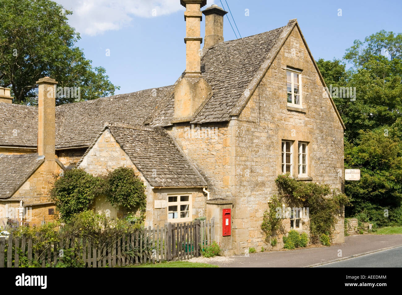 The Old Bakehouse teashop and B&B in the Cotswold village of Stanway, Gloucestershire - Stock Image