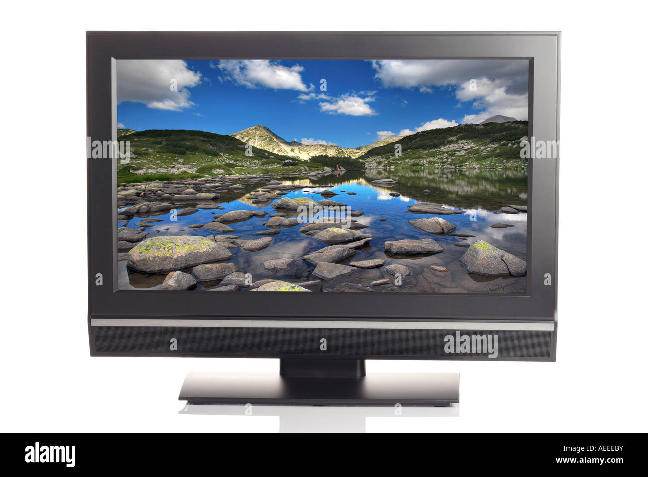 LCD tv displaying a beautiful picture - Stock Image