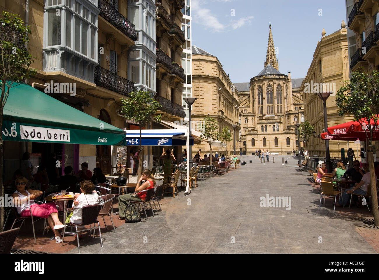 Bars And Restaurants Along Calle Reyes Catolicos San Sebastian