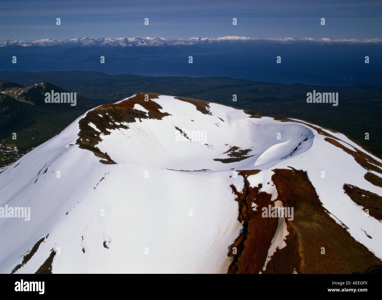 Aerial of Mt. Edgecumbe, 3201 feet (976 meters) high, volcano above Sitka, Kruzof Island, Alaska Stock Photo
