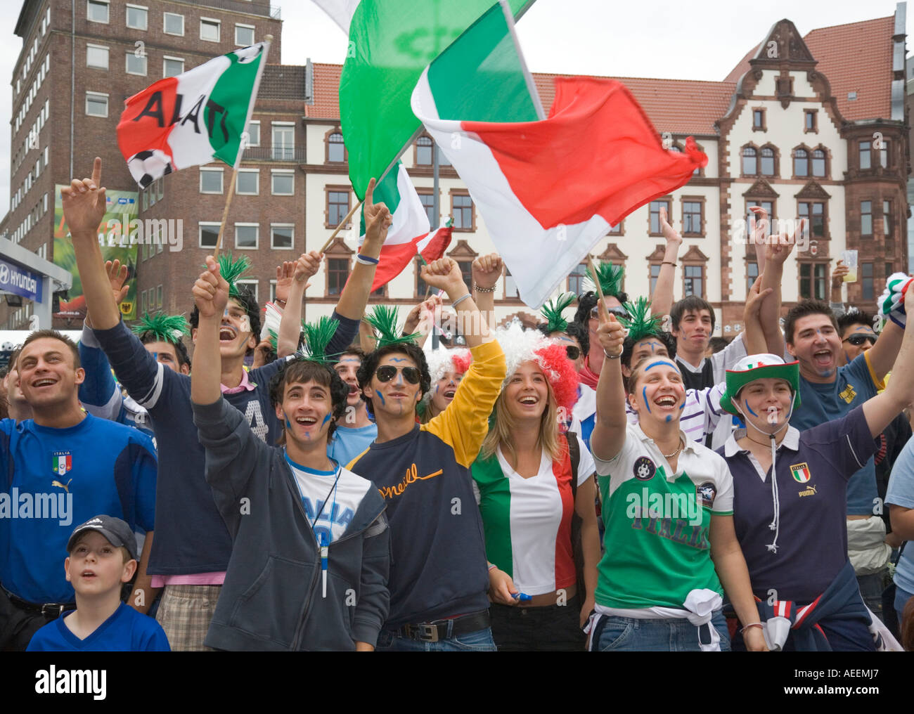 Italian Football Fans Cheering In Good Mood During The World Cup