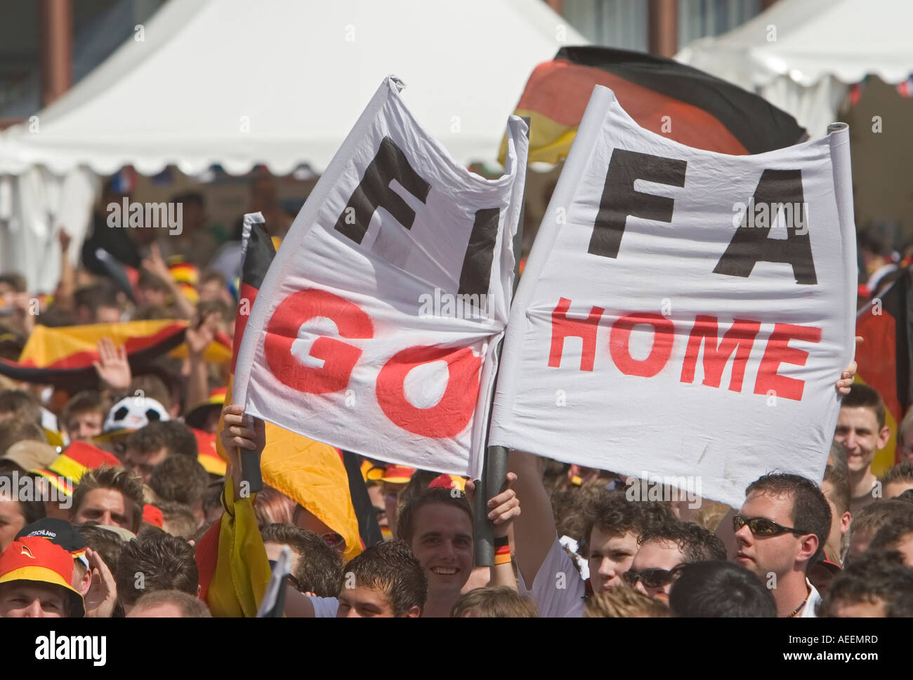 Protest against the world football association FIFA during the world cup match Germany vs Sweden (2:0) at a public viewing zone - Stock Image