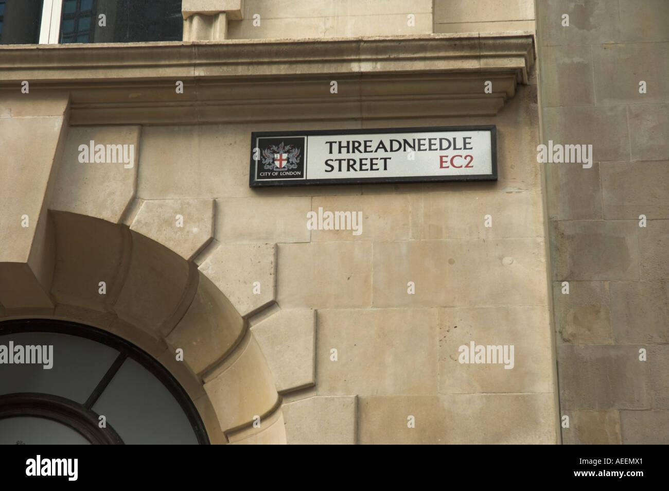 Road sign Threadneedle Street London EC2 in Banking Area Bank of England UK - Stock Image