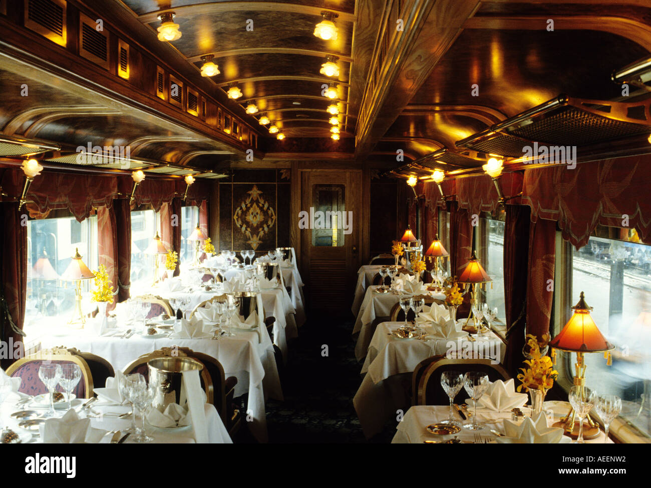 dining car on the eastern oriental express train traveling from stock photo 7806545 alamy. Black Bedroom Furniture Sets. Home Design Ideas