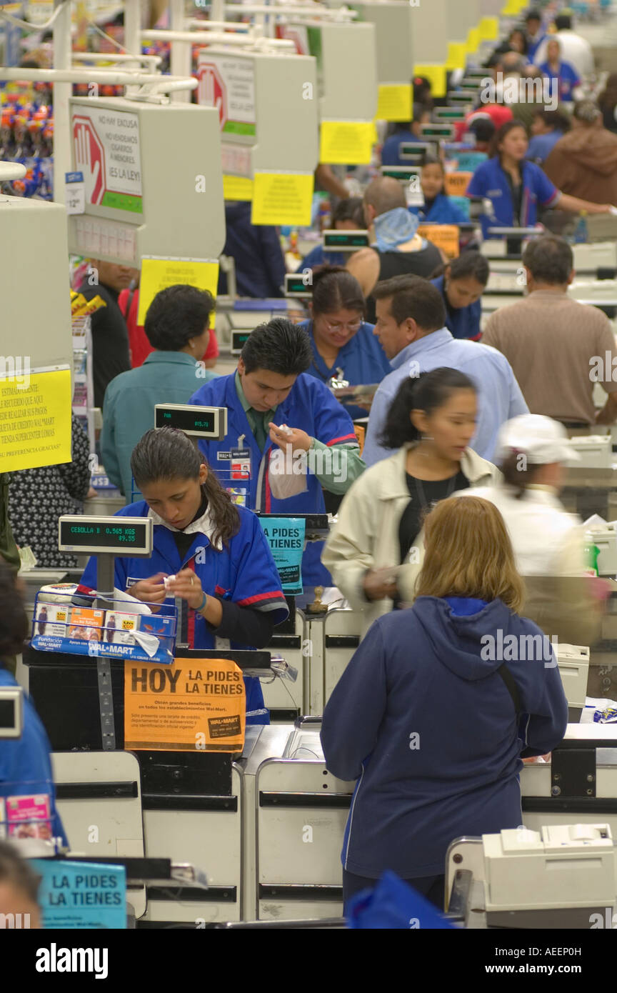 Cash registers and check-out lines at a WalMart store in Mexico City