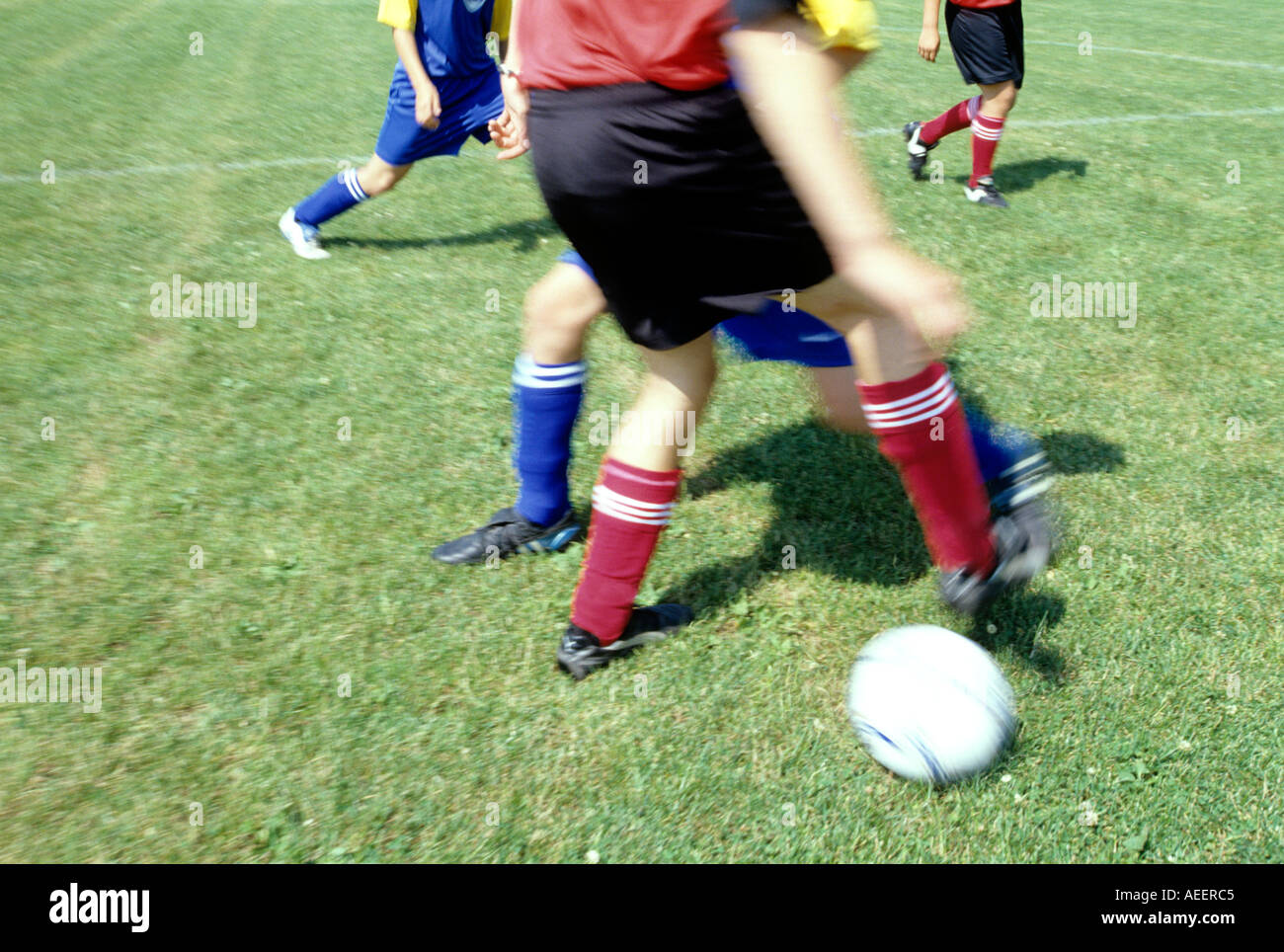 scene during football match player trying to trick his opponent - Stock Image