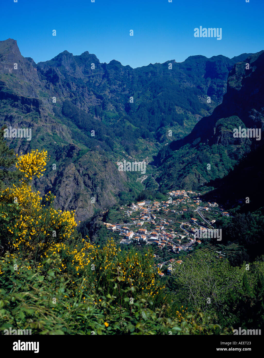 valley hiding place of nuns Curral das Freiras Madeira Portugal Europe. Photo by Willy Matheisl - Stock Image