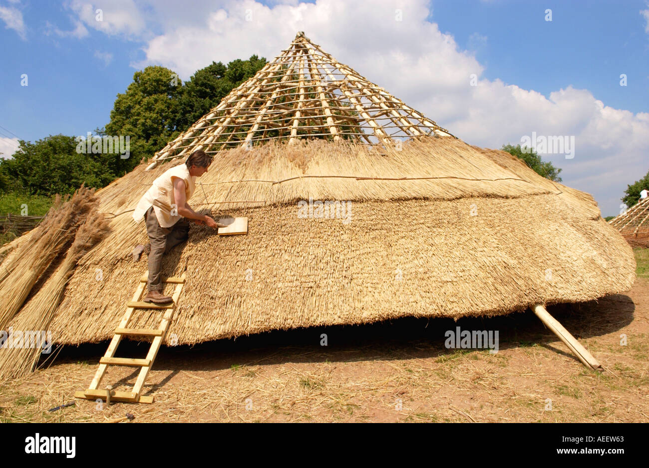 Thatching roof of Iron Age roundhouse being built using traditional techniques at Cinderbury Iron Age Farm near Coleford UK - Stock Image