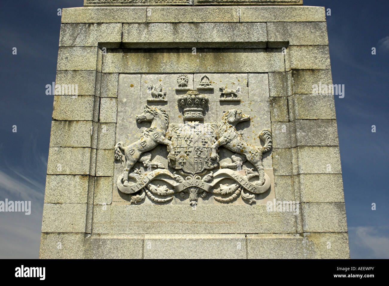 The coat of arms on the Lord Yarborough Monument, Bembridge Down / Culver Cliff, Isle of Wight, England, UK. Stock Photo