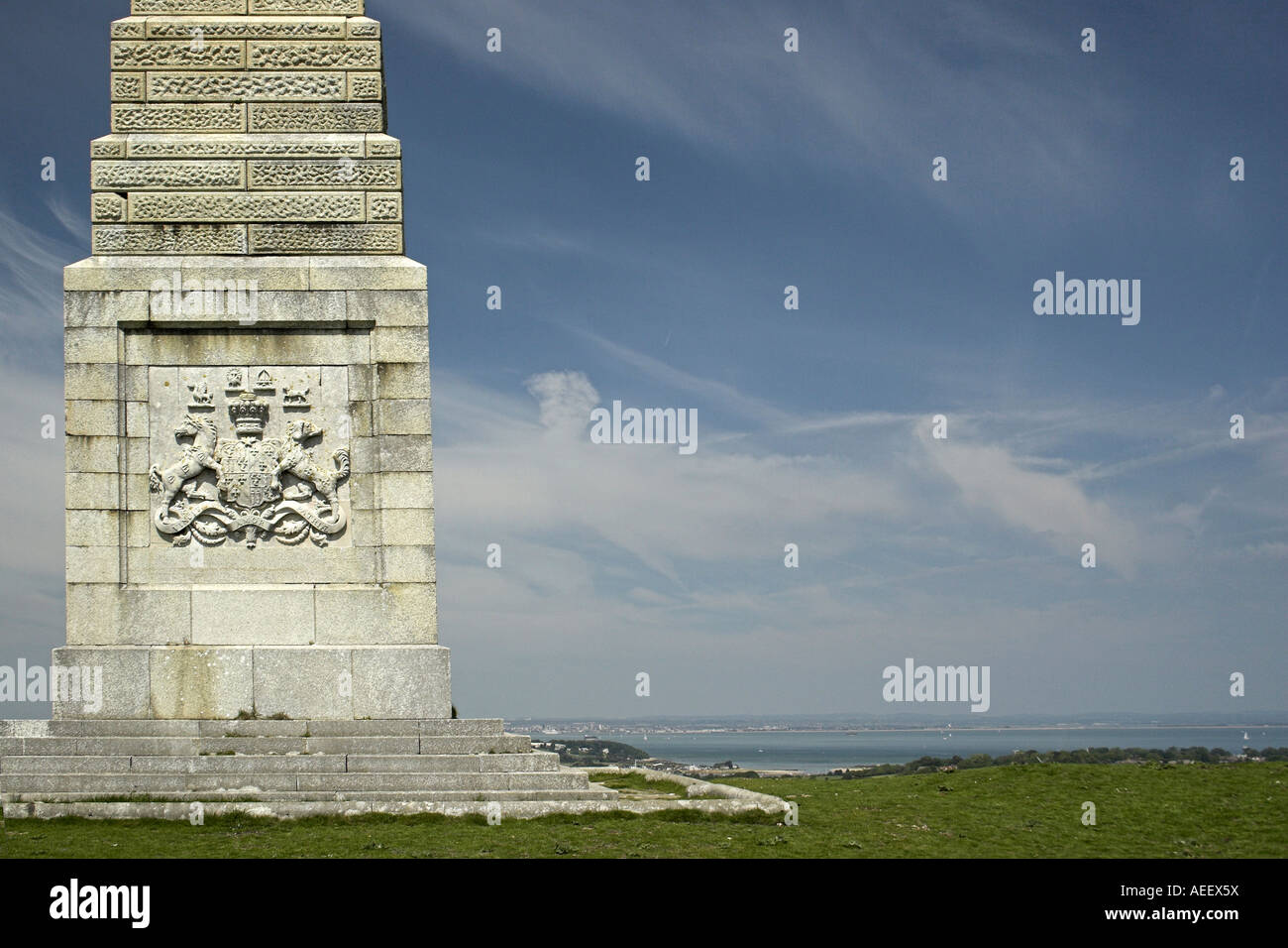 The coat of arms on the Lord Yarborough Monument, Bembridge Down / Culver Cliff, Isle of Wight, England, UK. - Stock Image