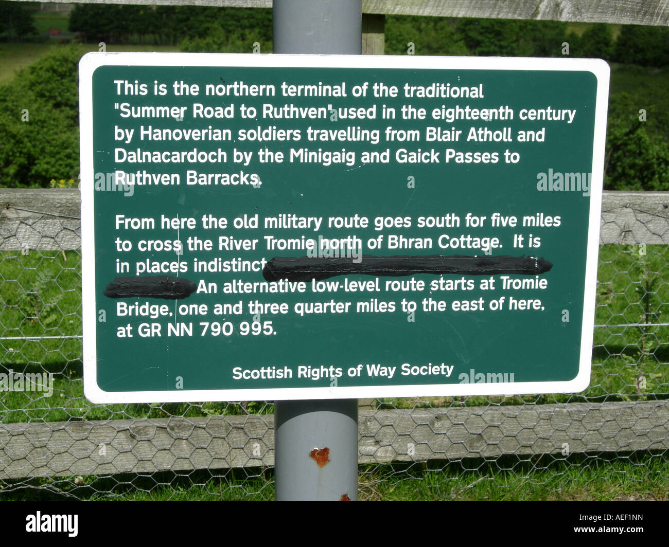 Scottish Rights of Way sign at Ruthven Barracks near Kingussie Inverness shire Scotland - Stock Image