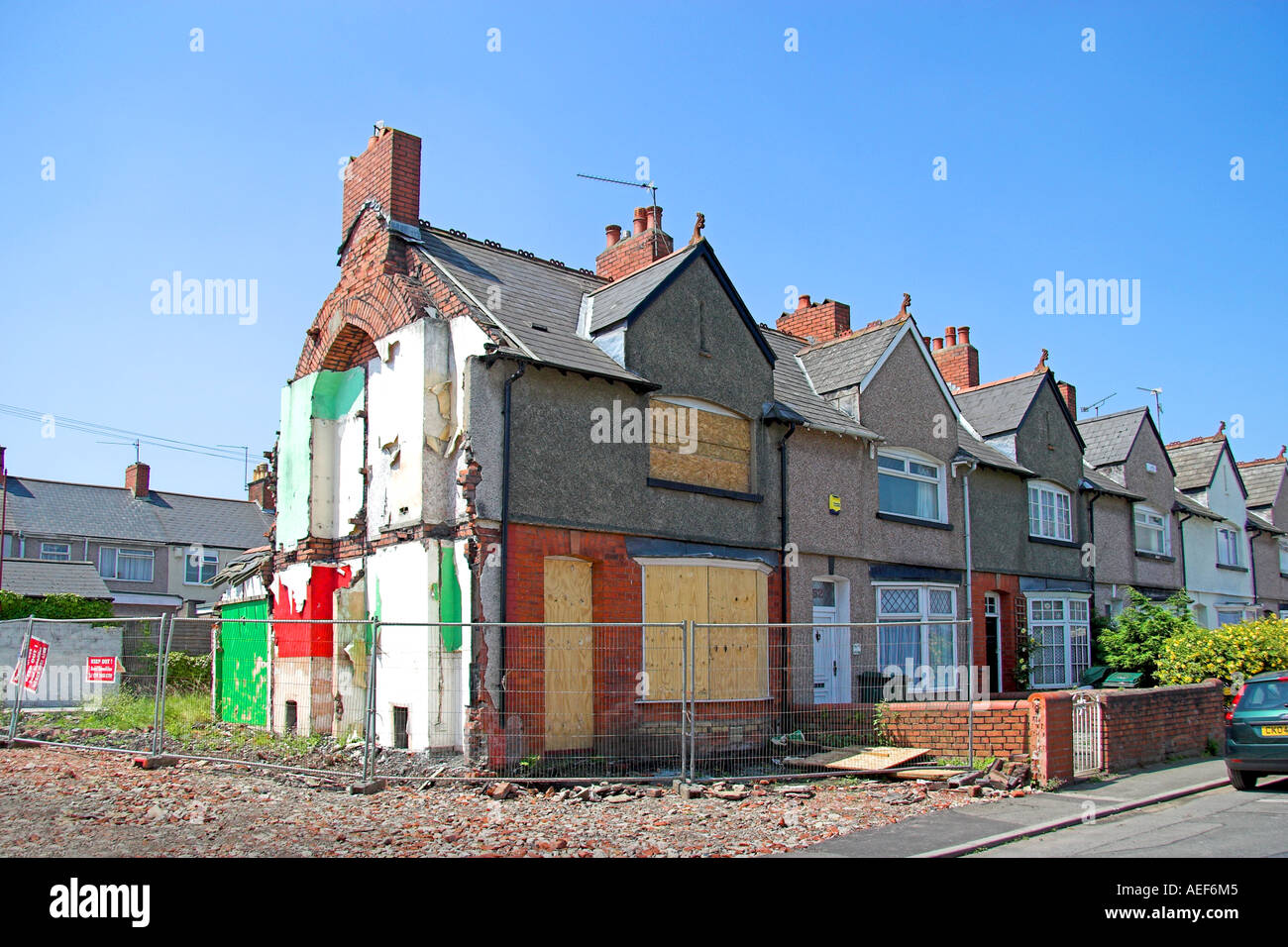 Demolished House Rodney Road Newport South East Wales - Stock Image