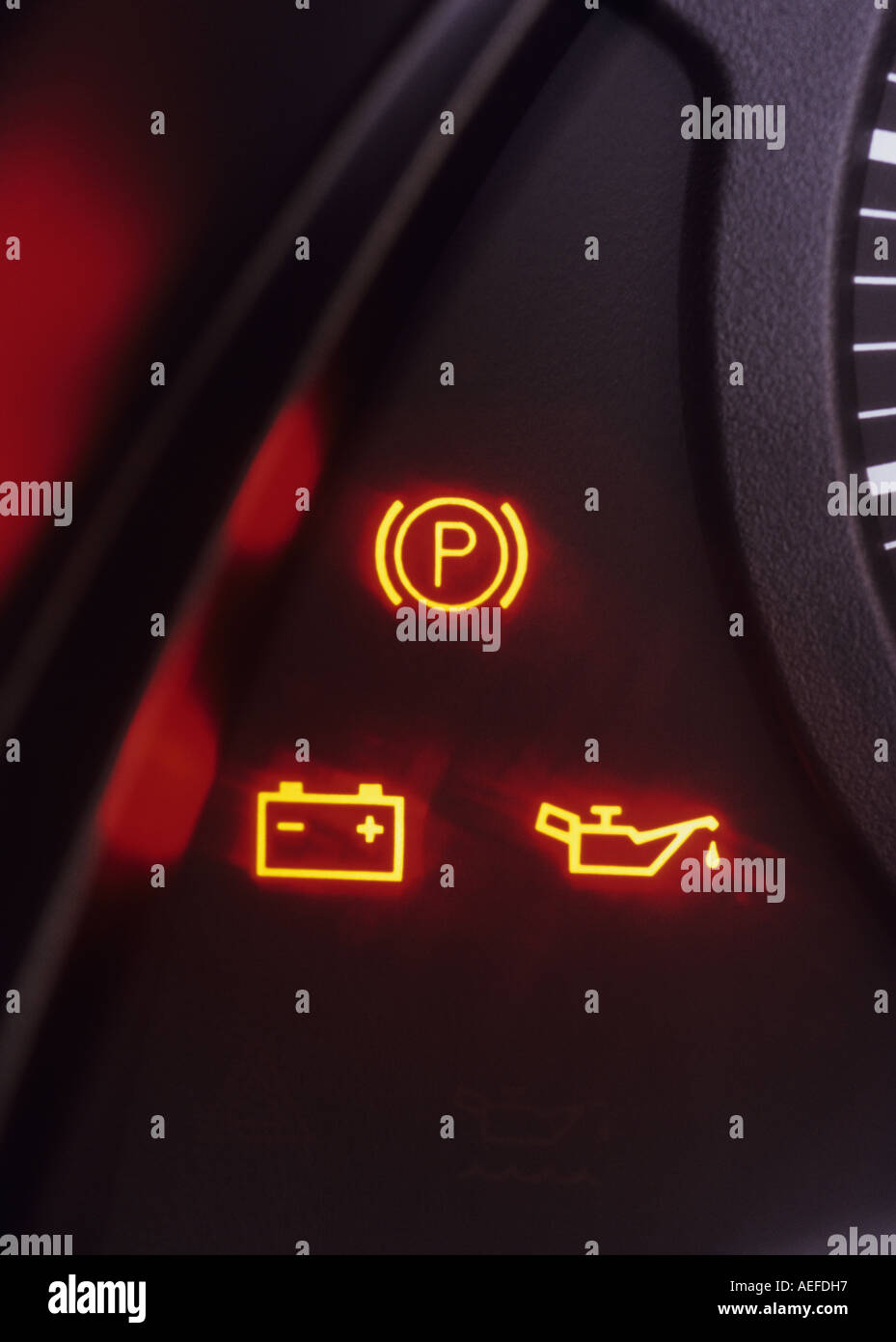Warning Lights On Vehicle Dashboard Console Showing Engine Problem