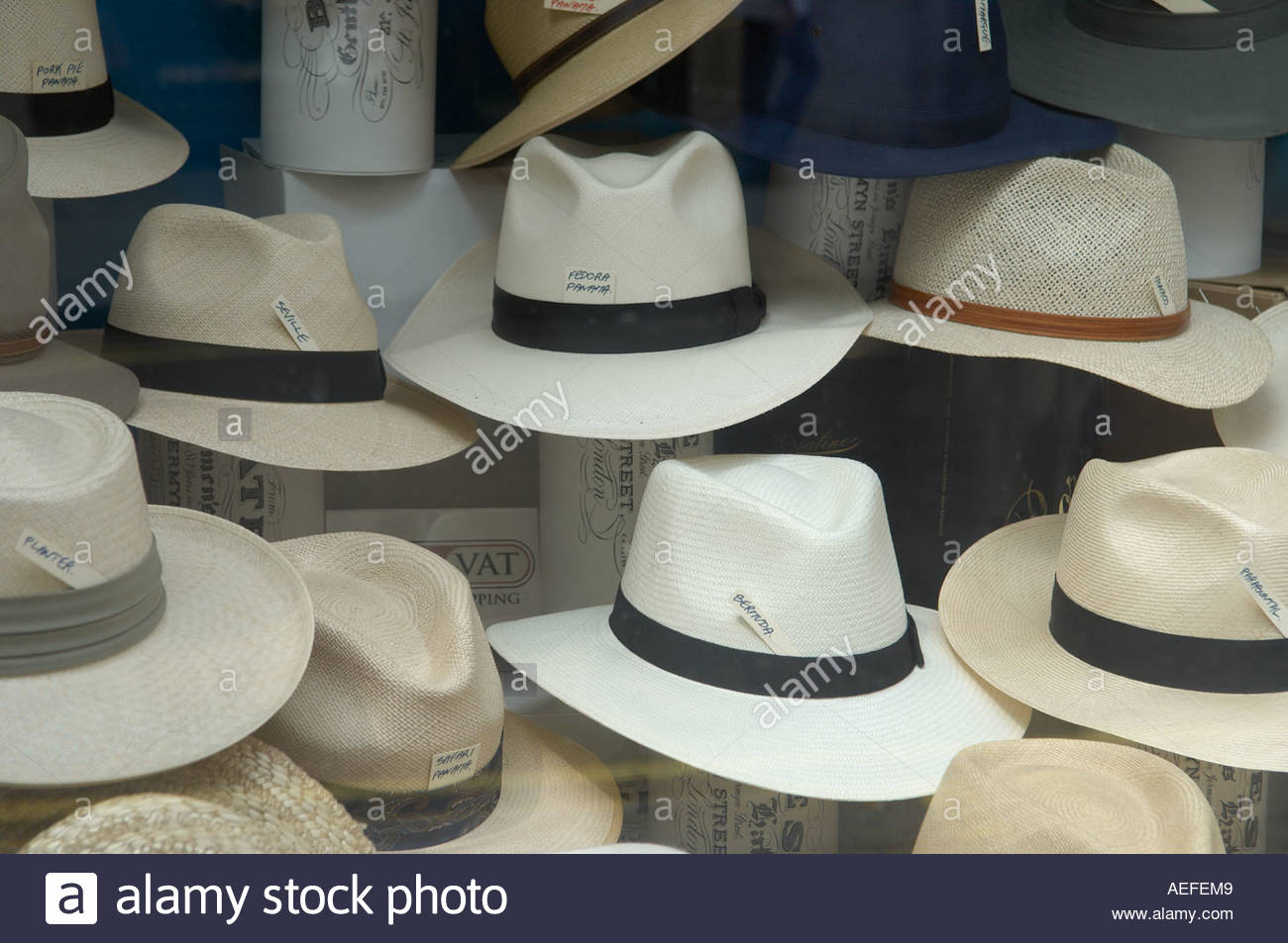 Panama Hats in Jermyn Street in London CREDIT Geraint Lewis Stock Photo