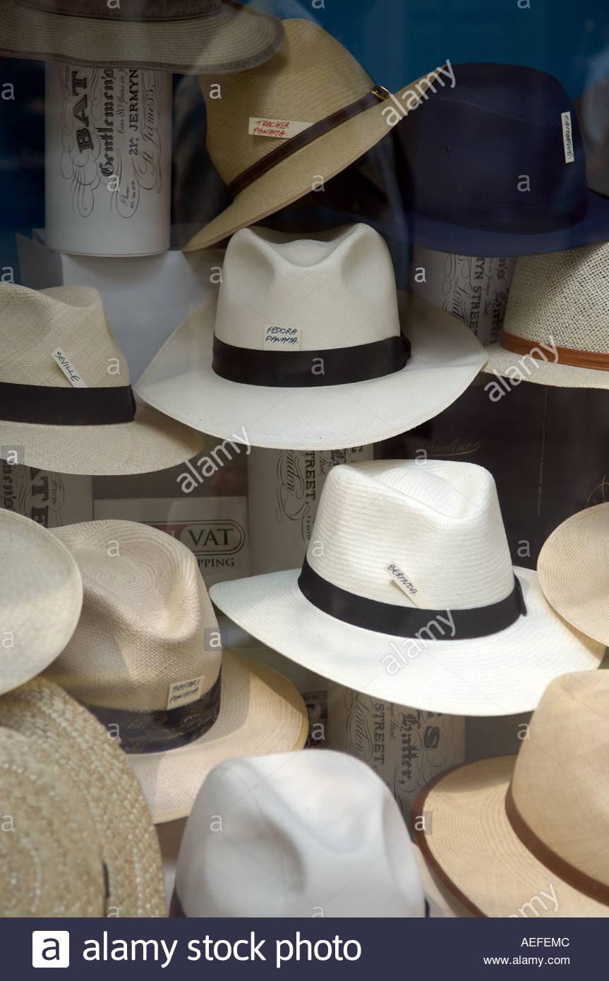 Panama Hats in shop window in in Jermyn Street in London CREDIT Geraint Lewis Stock Photo