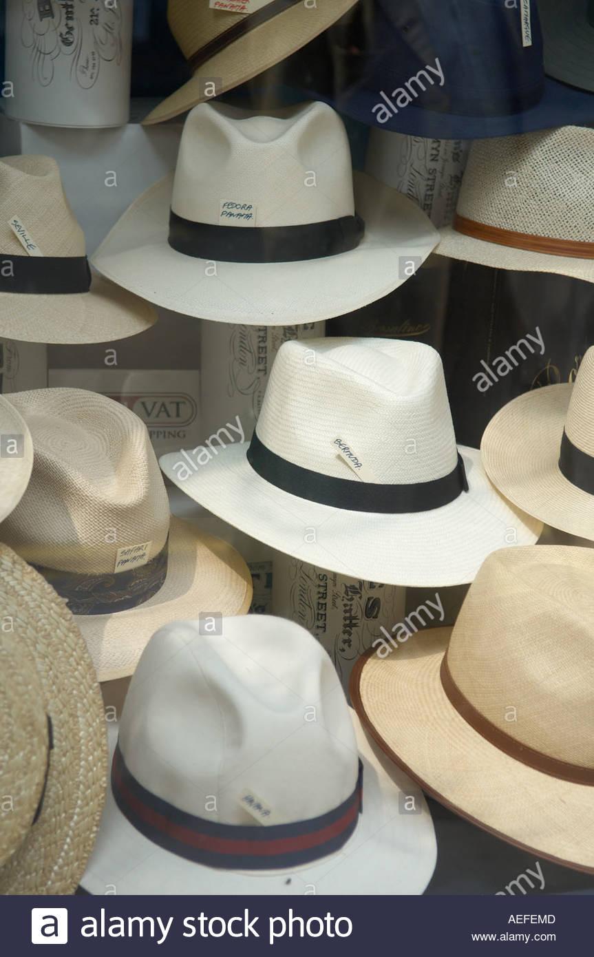 Panama Hats in Jermyn Street in London CREDIT Geraint Lewis - Stock Image